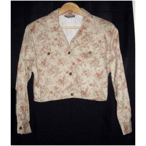 Vtg 90s Cropped Twill Jacket Floral Print M